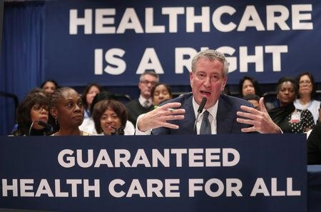 New York City Mayor Bill de Blasio speaks during a news conference at Lincoln Hospital in the Bronx borough of New York City New York U.S