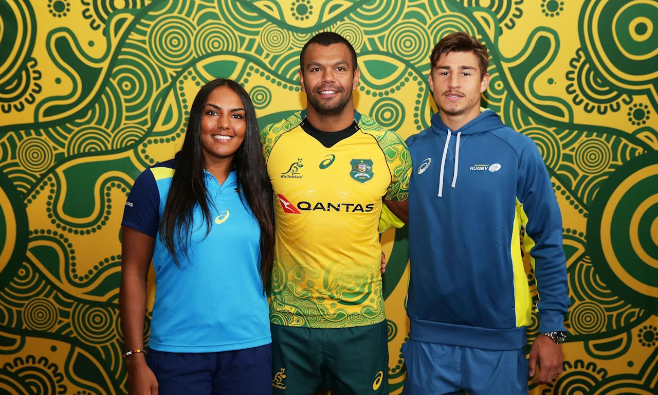 Indigenous Australian rugby players Mahalia Murphy, Kurtley Beale and Harrison Goddard