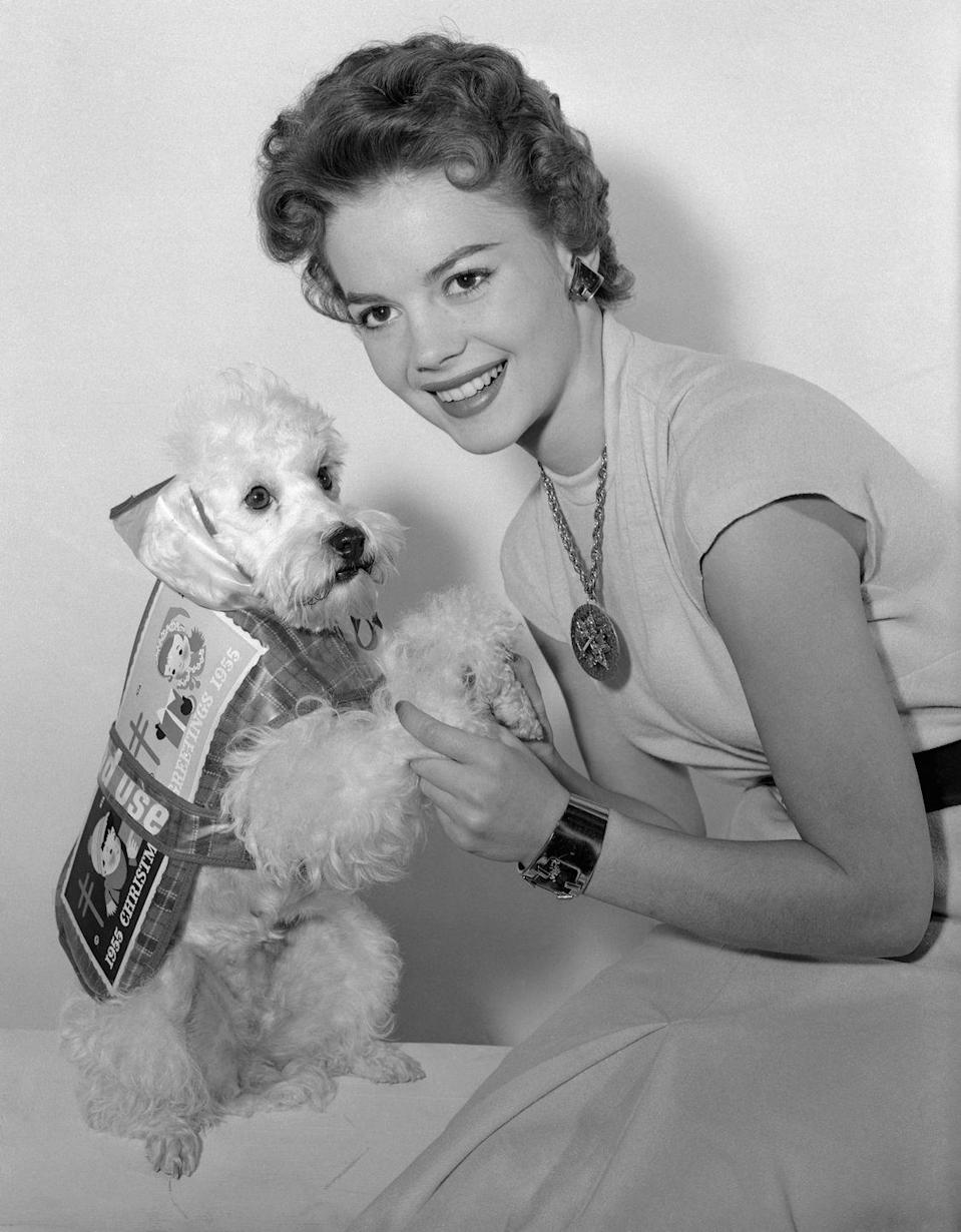<p>Child acterss Natalie Wood had no difficulty getting her poodle, Grebel, to dress in that year's holiday seal.</p>