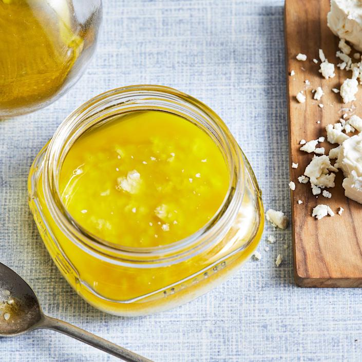 <p>Pucker up with this easy lemon vinaigrette with salty feta cheese and a dash of honey. Serve over simple mixed greens or on a dinner salad with chickpeas or chicken.</p>