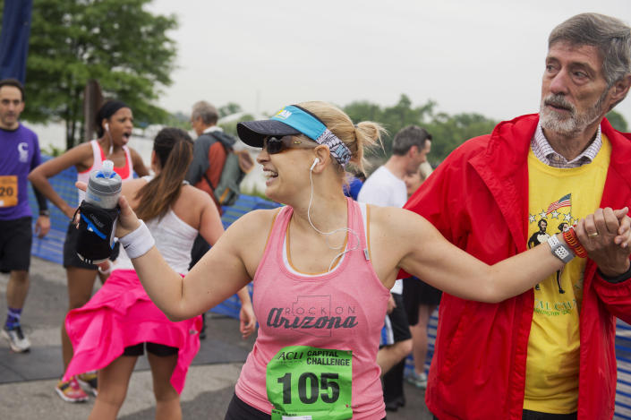 Sinema finishes the ACLI Capital Challenge 3 Mile Team Race in 2016. (Photo: Tom Williams/CQ Roll Call)