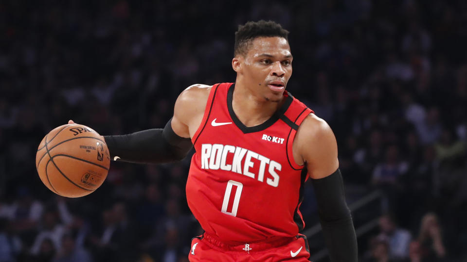 Houston Rockets guard Russell Westbrook (0) drives to the basket during the first quarter of an NBA basketball game against the New York Knicks in New York, Monday, March 2, 2020. (AP Photo/Kathy Willens)