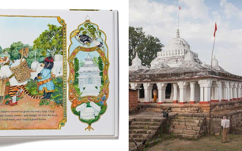 From left: a page from The Tale of the Tiger Slippers; the Bhandhavgarh Fort. | From left: Book by Jan Brett, photographed by Philip Friedman; Courtesy of Jan Brett