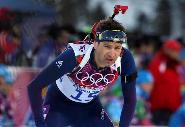 FILE PHOTO: Norway's Ole Einar Bjoerndalen reacts during the men's biathlon 20 km individual event at the Sochi 2014 Winter Olympic Games in Rosa Khutor February 13, 2014. REUTERS/Sergei Karpukhin (RUSSIA - Tags: SPORT BIATHLON OLYMPICS) - LR2EA2D14XPWJ/File Photo
