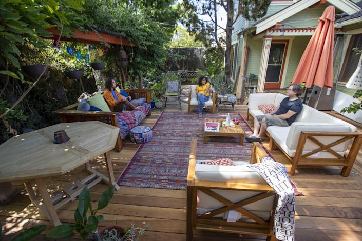 "Rhea Nandi Stewart and her husband, Mike Stewart, redid their Long Beach backyard when quarantine began, knowing that they would use this space for social distancing to let students come over for group projects. <span class=""copyright"">(Allen J. Schaben / Los Angeles Times)</span>"
