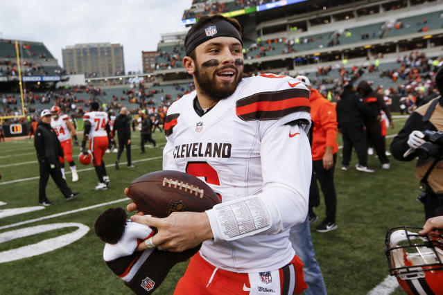 Cleveland Browns quarterback Baker Mayfield had some harsh words for former coach Hue Jackson on Sunday. (AP)