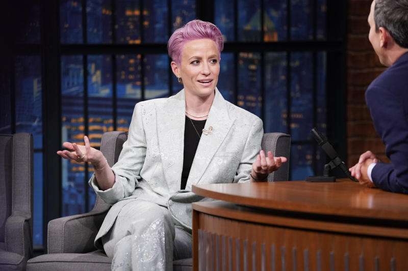 LATE NIGHT WITH SETH MEYERS -- Episode 856 -- Pictured: (l-r) Megan Rapinoe, World Cup Champion and U.S. Womens National Soccer Team Co-Captain, during an interview with host Seth Meyers on July 15, 2019 -- (Photo by: Lloyd Bishop/NBCU Photo Bank/NBCUniversal via Getty Images via Getty Images)