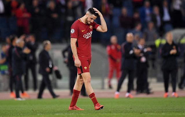 Soccer Football - Champions League Semi Final Second Leg - AS Roma v Liverpool - Stadio Olimpico, Rome, Italy - May 2, 2018 Roma's Konstantinos Manolas looks dejected after the match REUTERS/Alberto Lingria
