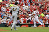 St. Louis Cardinals' Paul Goldschmidt runs the bases after hitting a two-run home run off Pittsburgh Pirates starting pitcher Steven Brault (43) during the first inning of a baseball game Sunday, Aug. 11, 2019, in St. Louis. (AP Photo/Scott Kane)