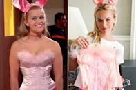 """<p>The actress played dress up in Elle Woods' signature pink costumes in honor of the film's 15th anniversary.</p> <p>In <a href=""""https://ew.com/article/2016/07/13/reese-witherspoon-snapchat-elle-woods-wardrobe/"""" rel=""""nofollow noopener"""" target=""""_blank"""" data-ylk=""""slk:addition to donning the infamous breakup dress and her &quot;first day of school&quot; plaid top and newsboy cap"""" class=""""link rapid-noclick-resp"""">addition to donning the infamous breakup dress and her """"first day of school"""" plaid top and newsboy cap</a>, Witherspoon gave a coy smile in Woods' <a href=""""https://www.instagram.com/p/BH0L6k6A8iD/?taken-by=reesewitherspoon"""" rel=""""nofollow noopener"""" target=""""_blank"""" data-ylk=""""slk:costume party bunny ears"""" class=""""link rapid-noclick-resp"""">costume party bunny ears</a> and tanned in a <a href=""""https://www.instagram.com/p/BH0QIX1Arek/?taken-by=reesewitherspoon"""" rel=""""nofollow noopener"""" target=""""_blank"""" data-ylk=""""slk:glitter bikini"""" class=""""link rapid-noclick-resp"""">glitter bikini</a>, even executing a perfect <a href=""""https://www.instagram.com/p/BHzmppAgH0y/"""" rel=""""nofollow noopener"""" target=""""_blank"""" data-ylk=""""slk:bend and snap"""" class=""""link rapid-noclick-resp"""">bend and snap</a> to boot.</p>"""