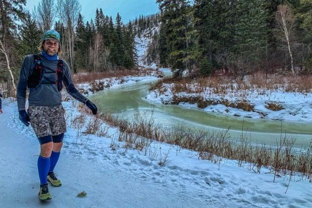 Gibby Davis created a Birkie Quad challenge for himself, during which he completed the 55-kilometre event four times: running, biking, skiing and skating. (Supplied by Julie Vizbar - image credit)
