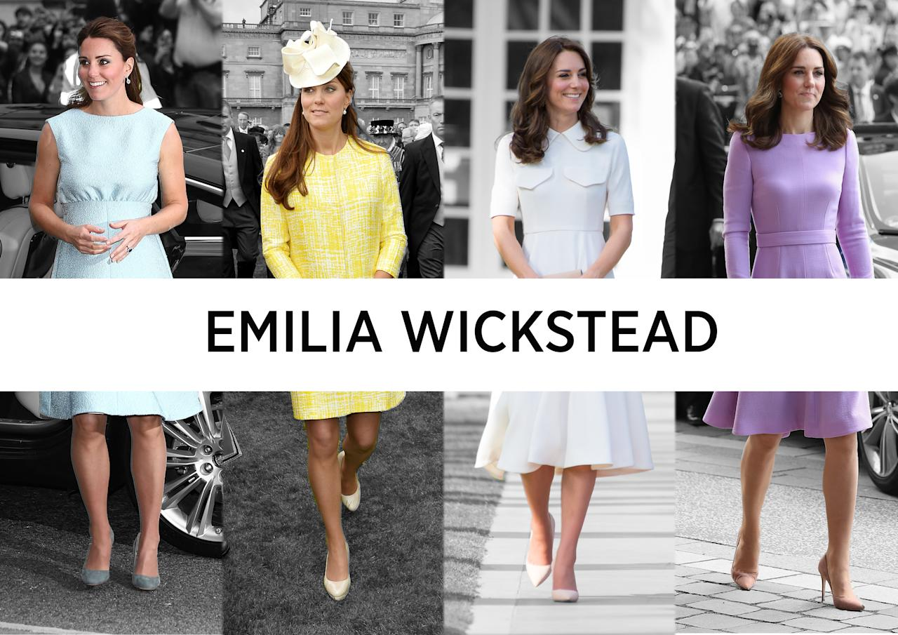 <p><b><b>Worn by the Duchess at over 10 public appearances, Emilia Wickstead's feminine garments are a top pick with the royal. Kate's donned a number of bespoke maternity ensembles by the London Fashion Week label, too, which, thanks to their A-line skirts and empire waist lines, are wonderfully flattering during pregnancy. The designer herself really knows what she's doing. She's worked at a whole host of fashion houses, including Giorgio Armani, Proenza Schouler and Narciso Rodriguez and has even done a stint at Vogue. <br /><em>[Photos: PA/Getty/Yahoo Style UK]</em> </b></b></p>