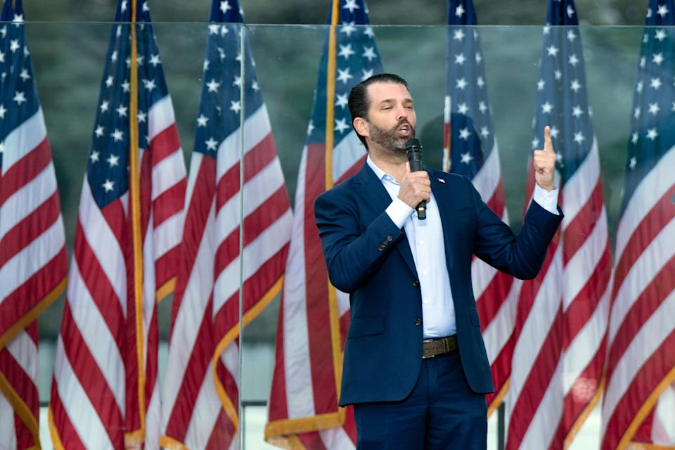 Donald Trump Jr. speaks during a rally of supporters of US President Donald Trump