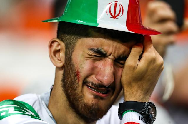 <p>Iran's supporter reacts after their 2018 FIFA World Cup Group B football match against Portugal at Mordovia Arena Stadium. The game ended in a 1:1 draw. Stanislav Krasilnikov/TASS (Photo by Stanislav Krasilnikov\TASS via Getty Images) </p>