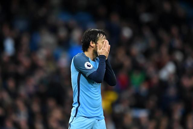 <p>David Silva looks on in disbelief </p>