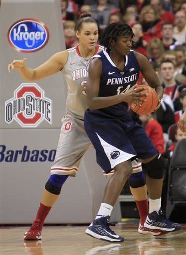 Penn State's Nikki Greene, right, posts up against Ohio State's Ashley Adams during the first half of an NCAA college basketball game on Sunday, Jan. 27, 2013, in Columbus, Ohio. (AP Photo/Jay LaPrete)