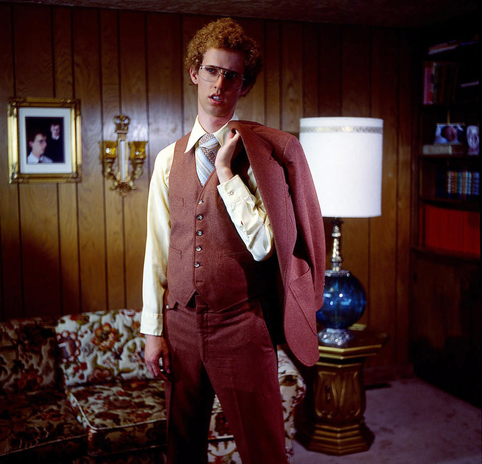 """This 2004 photo provided by Twentieth Century Fox and Paramount Pictures shows Jon Heder, as Napoleon Dynamite, in a scene from the cult classic comedy """"Napoleon Dynamite."""" (Twentieth Century Fox/Paramount Pictures via AP)"""