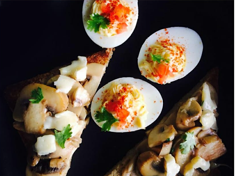 Devilled Egg with Mushroom Bruschetta