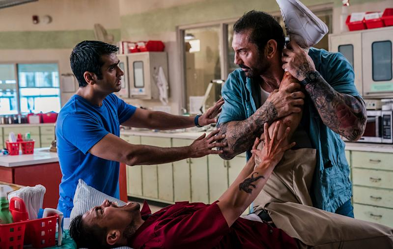 Kumail Nanjiani and Dave Bautista in <i>Stuber</i>. (20th Century Fox)