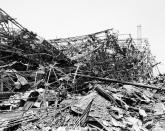 FILE - In this Sept. 14, 1945, file photo, all that is left of the Mitsubishi weapons factory is a sagging, skeletal hulk over a month after atomic attack of Aug. 9. The city of Nagasaki in southern Japan marks the 75th anniversary of the U.S. atomic bombing of Aug. 9, 1945. It was a second nuclear bomb dropped by the U.S. three days after it made the world's first atomic attack on Hiroshima. (AP Photo, File)