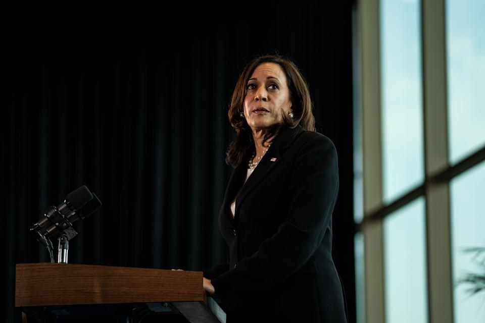 MEXICO CITY, MEXICO - JUNE 08: Vice President Kamala Harris speaks during a news conference at the  on Tuesday, June 8, 2021. The Vice President is wrapping up her first international trip since taking office, visiting Guatemala and Mexico to discuss the root causes of migration from the Central American countries in what is known as the Northern Triangle  Honduras, El Salvador and Guatemala. (Kent Nishimura / Los Angeles Times via Getty Images)