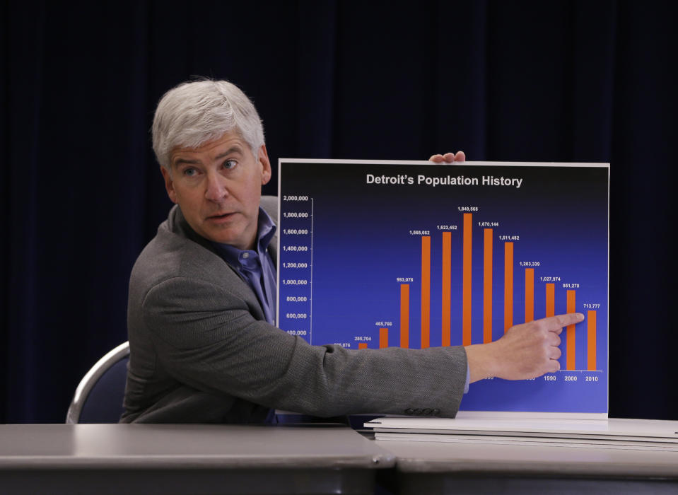 <p> FILE - In this Feb. 21, 2013 file photo, Michigan Gov. Rick Snyder discusses the effect of Detroit's drastic population loss over 60 years, which he says is the main reason for the city's financial woes during a news conference at his office in Detroit. Snyder said Friday, March 1, that he has declared a financial emergency in Detroit, a determination that could lead to the appointment of an emergency manager over the city's finances. (AP Photo/Carlos Osorio, File) </p>