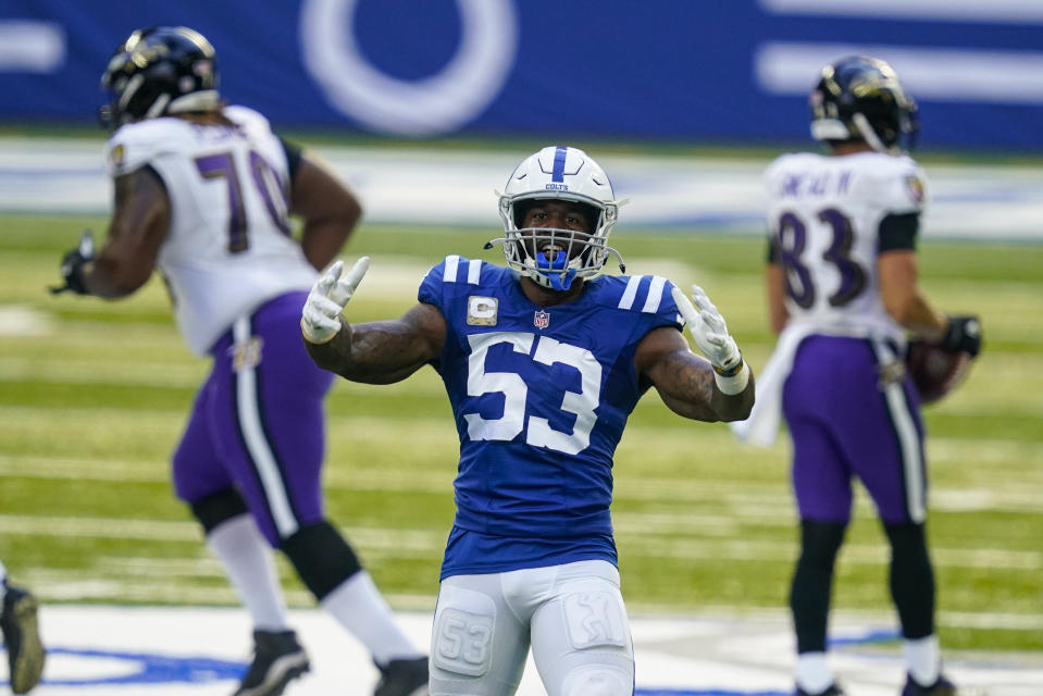 Indianapolis Colts outside linebacker Darius Leonard (53) leads his team into a huge game against the Titans. (AP Photo/Darron Cummings)