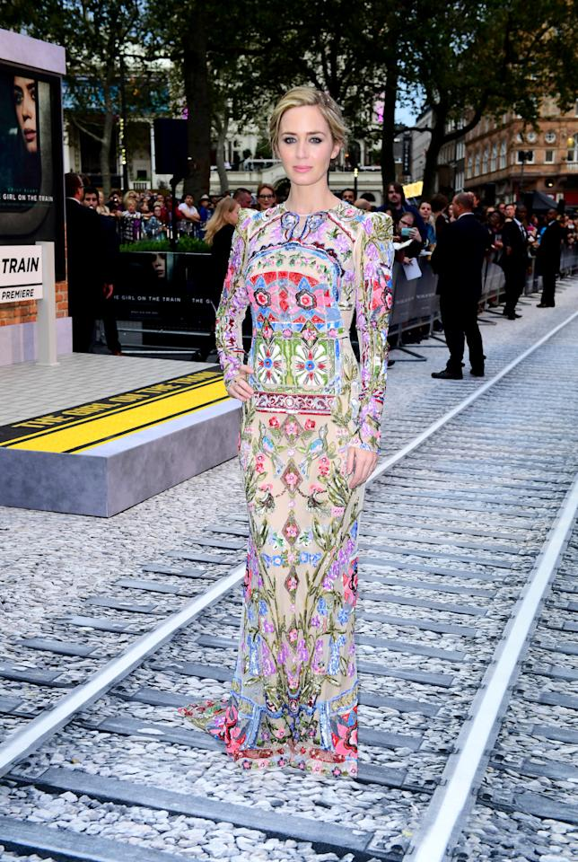 <p>In arguably one of her best looks of all time, Blunt arrived at the London premiere on her new film dressed in a stunning beaded gown from Alexander McQueen's resort 2017 offering.<i> [Photo: PA Images]</i></p>