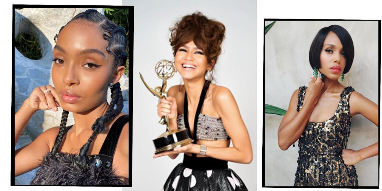 """<p>The 202o <a href=""""https://www.elle.com/uk/life-and-culture/culture/a34091419/emmys-2020-memes/"""" target=""""_blank"""">Emmys</a> took place last night and if you didn't manage to stay up until 2am (because everyone needs their beauty sleep) we've rounded up all the <a href=""""https://www.elle.com/uk/beauty/g23355185/september-elle-hair-makeup-edit/"""" target=""""_blank"""">beauty</a> looks you might have missed out on. </p><p>Due to new safety measures as a result of the Coronavirus pandemic, the awards show looked a little different this year and even though the nominees could have been at home in gym <a href=""""https://www.elle.com/uk/fashion/what-to-wear/g28218293/lets-get-physical-shop-leggings-cycling-shorts-shapewear-and-bodysuits/"""" target=""""_blank"""">leggings</a> (we wouldn't blame them), quarantine didn't stop these A-listers from creating some incredible beauty looks for the virtual ceremony. </p><p><strong>From <a href=""""https://www.elle.com/uk/life-and-culture/a34091264/zendaya-emmy-win/"""" target=""""_blank"""">Zendaya's</a> award winning up-do to Yvonne Orji's <a href=""""https://www.elle.com/uk/life-and-culture/a33619362/meghan-markle-moving-to-ca-19th-summit-quotes/"""" target=""""_blank"""">Black Lives Matter</a> message, we've rounded up the best beauty looks from the first virtual Emmys event:</strong></p>"""