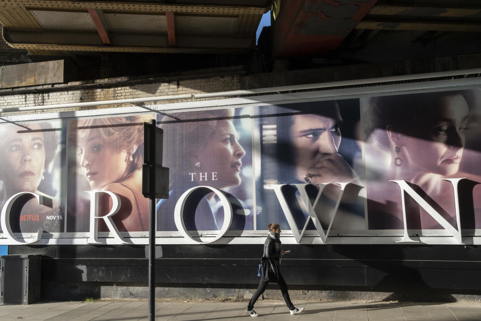 A panoramic billboard advertising the latest series of Netflix's 'The Crown' which is now airing on demand, shows the main characters of the British royal family - and featuring the relationship and romance between Prince Charles and Diana, Princess of Wales, on 12th November 2020, in London, England. (Photo by Richard Baker / In Pictures via Getty Images)