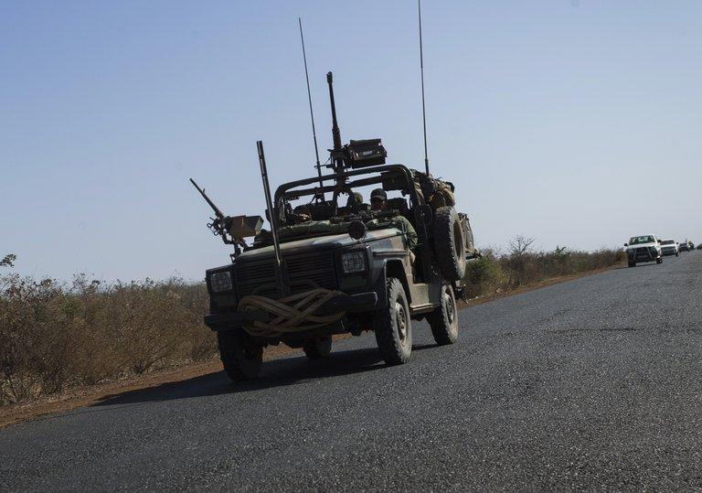 French soldiers drive a military jeep near Markala on January 18, 2013. West African leaders Saturday called for greater international involvement in Mali as they met to speed up the deployment of regional troops to boost a French-backed offensive to halt an Islamist onslaught