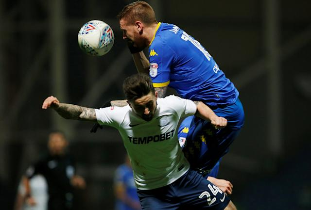 "Soccer Football - Championship - Preston North End vs Leeds United - Deepdale, Preston, Britain - April 10, 2018 Preston North End's Sean Maguire (L) in action with Leeds United's Pontus Jansson Action Images/Craig Brough EDITORIAL USE ONLY. No use with unauthorized audio, video, data, fixture lists, club/league logos or ""live"" services. Online in-match use limited to 75 images, no video emulation. No use in betting, games or single club/league/player publications. Please contact your account representative for further details."