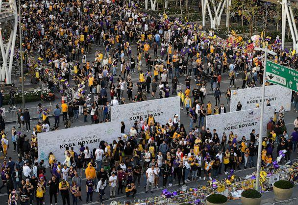 PHOTO: Fans gather at LA Lives to pay tribute to Kobe Bryant before the game between the Los Angeles Lakers and the Portland Trail Blazers at Staples Center in Los Angeles, Jan 31, 2020. (USA TODAY Sports via Imagn)