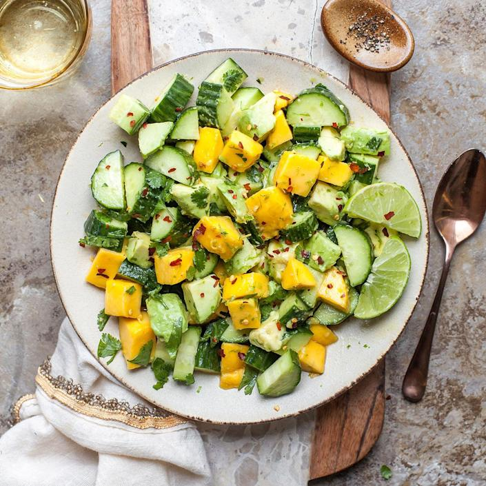 <p>Combine cucumber, avocado and mango with a salty-sweet dressing for a taste of the tropics.</p>