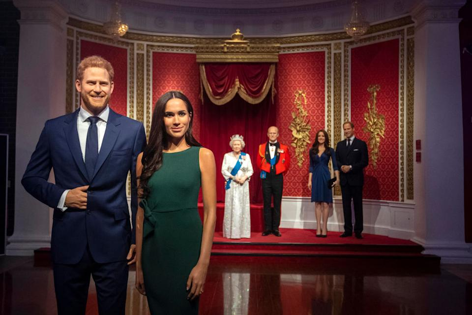 Madame Tussauds London has moved wax figures of Prince Harry and Meghan Markle away from the rest of the royal family. (Photo: Victoria Jones/PA Images via Getty Images)