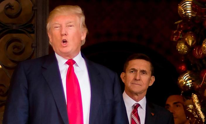 Michael Flynn with President-elect Donald Trump in December 2016, the month his nomination as national security adviser was announced.