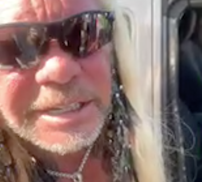 Dog The Bounty Hunter declined to speak to media as he left the Laundrie family home on Saturday (BrianEntin/Twitter)