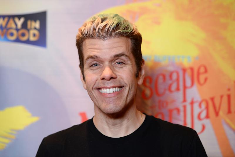 """HOLLYWOOD, CALIFORNIA - FEBRUARY 18: Perez Hilton arrives at Jimmy Buffett's """"Escape To Margaritaville"""" L.A. Premiere Engagement at the Dolby Theatre on February 18, 2020 in Hollywood, California. (Photo by Amanda Edwards/Getty Images)"""