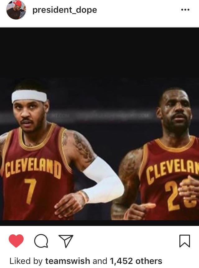 Could a J.R. Smith reunion with Carmelo Anthony be in the cards? (Instagram)