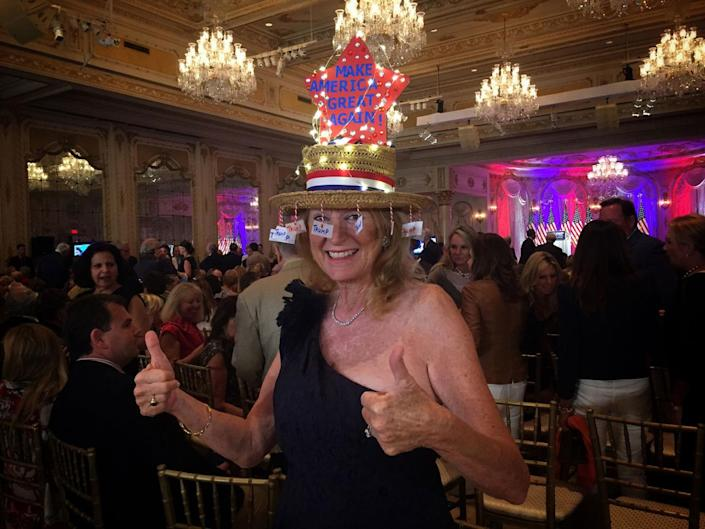 <p>A Trump supporter poses ahead of the candidate's election night event on March 15 in Palm Beach, Fla. (Photo: Holly Bailey/Yahoo News) </p>