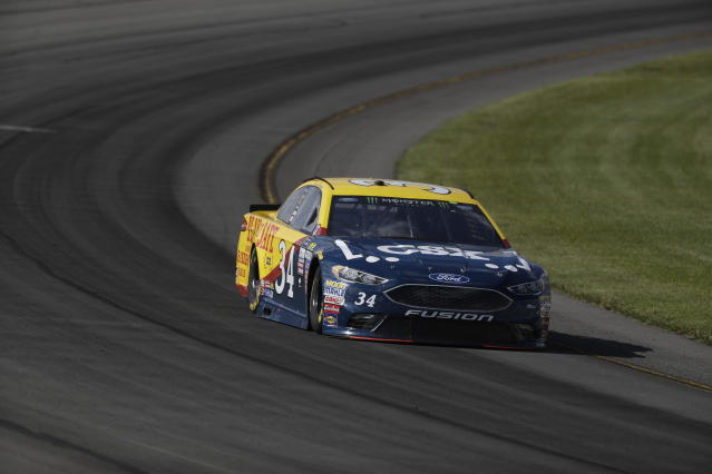 "<a class=""link rapid-noclick-resp"" href=""/nascar/sprint/drivers/1507/"" data-ylk=""slk:Landon Cassill"">Landon Cassill</a> in action during qualifying for Sunday's NASCAR Cup Series Pocono 400 auto race, Friday, June 9, 2017, in Long Pond, Pa. (AP Photo/Matt Slocum)"