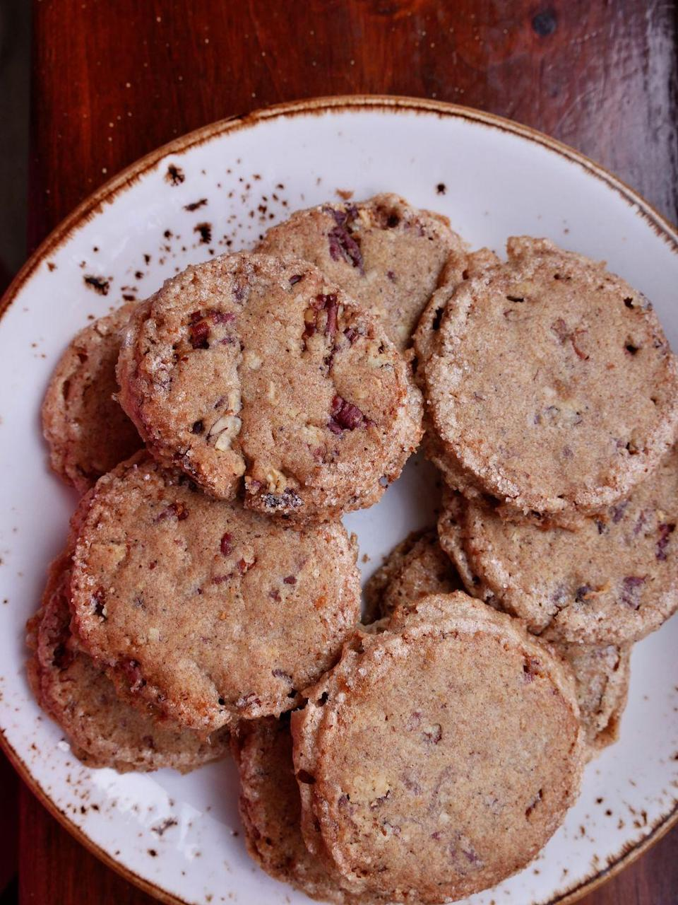 """<p>This recipe also uses whole wheat flour in addition to all-purpose flour for a nicely nutty, earthy-sweet twist. </p><p>Get the recipe from <a href=""""https://www.delish.com/cooking/recipe-ideas/a37779868/pecan-sandies-recipe/"""" rel=""""nofollow noopener"""" target=""""_blank"""" data-ylk=""""slk:Delish"""" class=""""link rapid-noclick-resp"""">Delish</a>.</p>"""