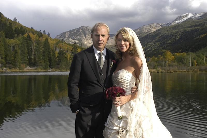 Kevin Costner married his girlfriend of 5 years, Christine Baumgartner at their Aspen, Colorado ranch on September 25, 2004 (Photo by WireImage House/WireImage)