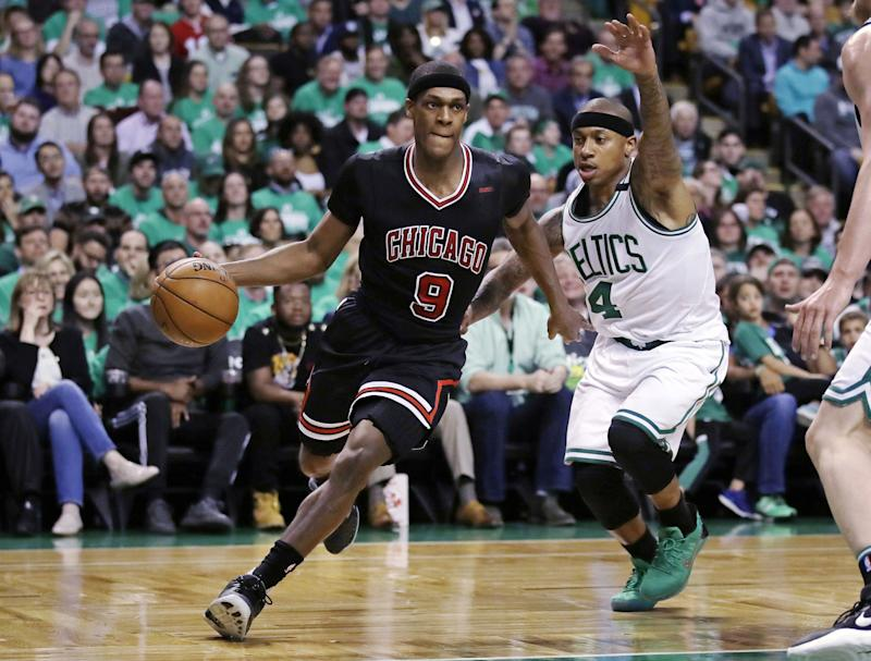 Rajon Rondo has played a key role in helping the Bulls take a 2-0 series lead over the Celtics. (AP)
