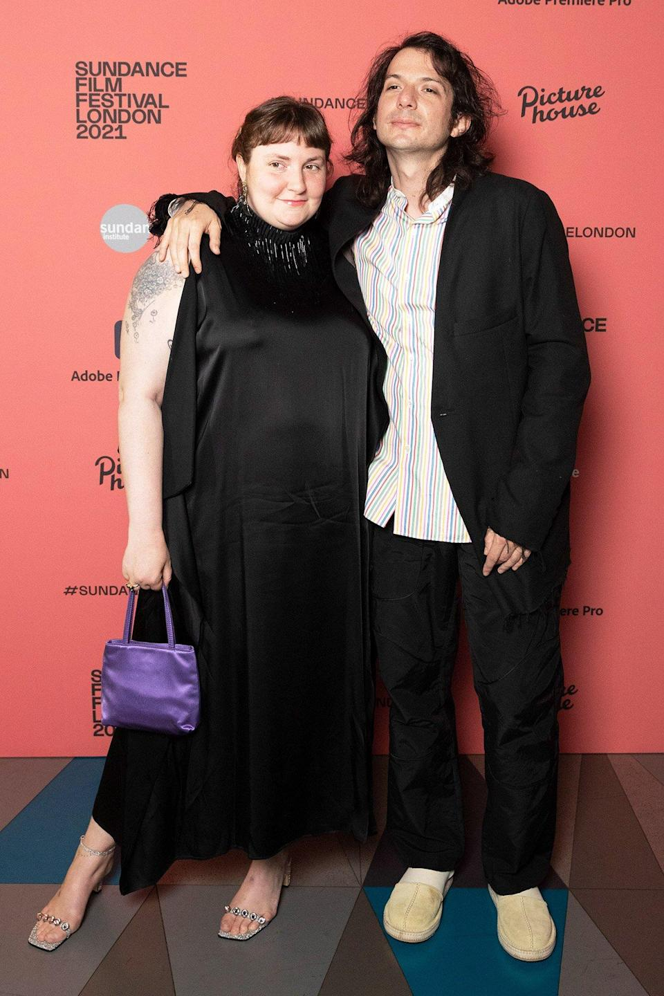 """Lena Dunham and Luis Felber attend the """"Zola"""" special screening at Picturehouse Central on August 01, 2021 in London, England"""