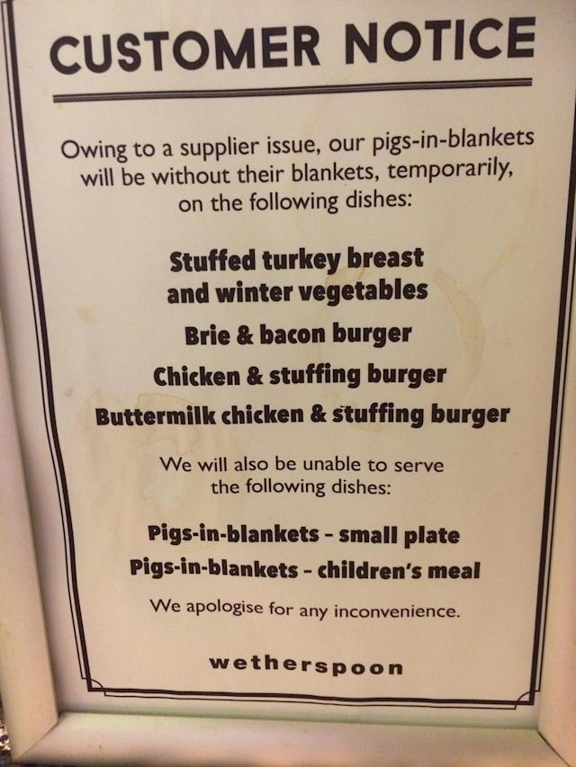 Notice in a Wetherspoon pub in central London. Photo: Yahoo Finance UK