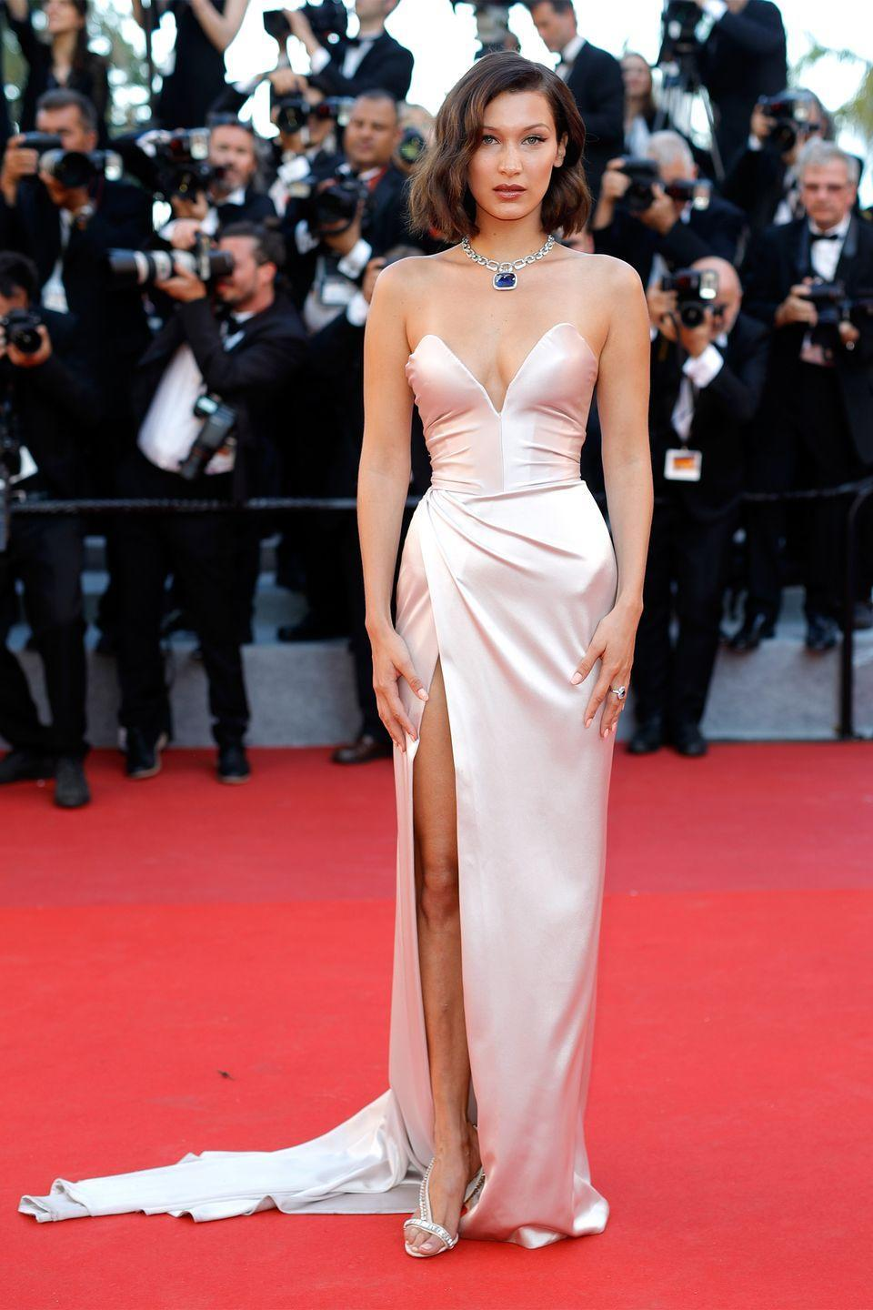 <p>In a custom Alexandre Vauthier gown and Bulgari necklace at Cannes Film Festival.</p>