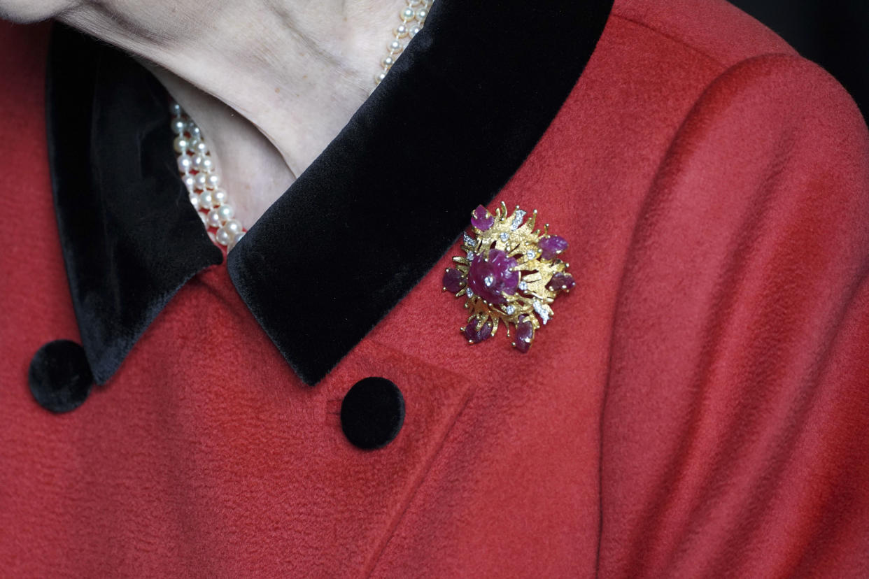 Her Majesty's 'scarab' brooch was a personal gift from the Duke of Edinburgh in 1966. (Getty Images)