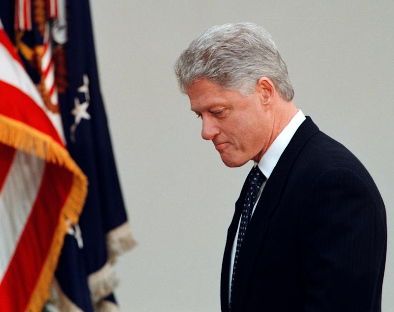 President Clinton makes a short statement regarding the Senate acquitting him of impeachment charges in the Rose Garden at the White House February 12, 1999. (Photo: Mike Holmes/Getty Images)