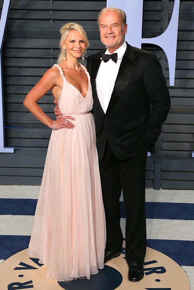 <p>The <em>Frasier</em> star and wife Kayte Walsh went for classic glamour. (Photo: JEAN-BAPTISTE LACROIX/AFP/Getty Images) </p>